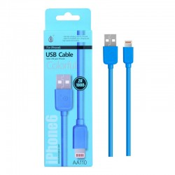 Cable IPHONE 5/6/7 2A 1 mètre bleu AA110