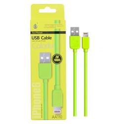 Cable IPHONE 5/6/7 2A 1 mètre Vert AA110