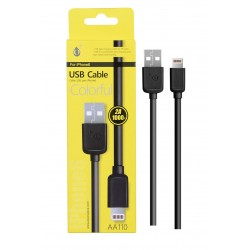 Cable IPHONE 5/6/7 2A 1 mètre noir AA110