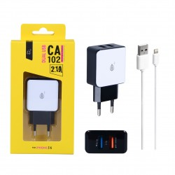 Chargeur Dual USB 2 ports 2100Mah + Cable IPHONE 5/6/7